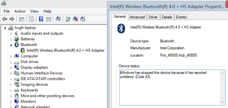 Check your device drivers have not stopped functioning